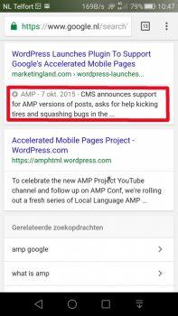AMP Zoekresultaten in google search voorzien van het AMP teken.