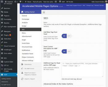 Configuratiescherm voor AMP voor WordPress