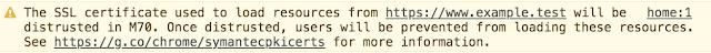 Waarschuwing die je in de chrome browser leest bij een symantec certificaat